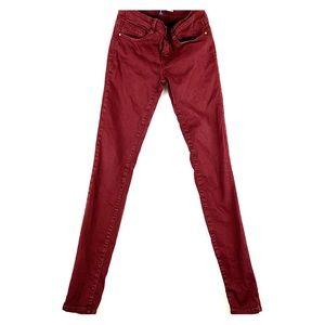 Zara Burgundy Skinny Jeans Size 4